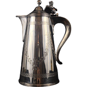 Danish 826 Silver Serving Pitcher with Lion Figural and Bright Cut. 1907 Date