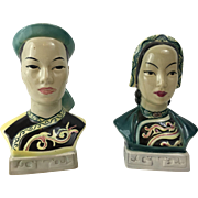 Chinese Man and Woman Goldscheider Everest Pottery Busts, Austria Circa 1950