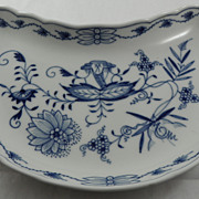 Crescent Shaped Salad Plate Meissen Blue Onion