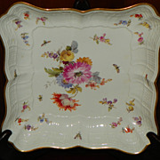 Square Tray.  Meissen Floral.