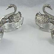 Set of Four Swan Salt Cellars