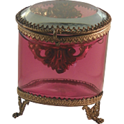 Victorian Cranberry Glass Pocket Watch Holder