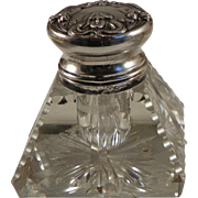 Inkwell.  Cut Glass and American Sterling Silver