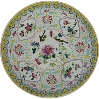Chinese Polychrome Enamel Porcelain Charger Bird and Floral Motif. 19th Century