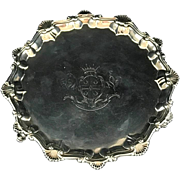 Georgian Period Sterling Silver Footed Salver Tray London 1767.