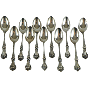 11 After 5 Teaspoons. Alvin Sterling Silver in the Majestic Pattern (1900)