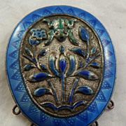Chinese Oval Enamel Brooch.  19th Century