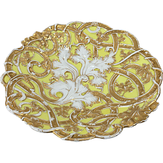 Meissen Bowl, German Porcelain, Pale Yellow, Gold Gilded Rococo, Deeply Embossed