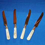 Four Dinner Knives. Sterling Ferrule. Early 20th Century.