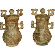 Pair of Chinese Soapstone Covered Jars. 20th Century.