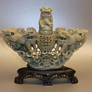 Antique Chinese Hand Carved Soapstone Incense Burner Foo Dogs