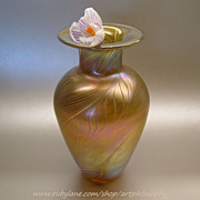 Art Nouveau Iridescent Gold Feather Glass Vase