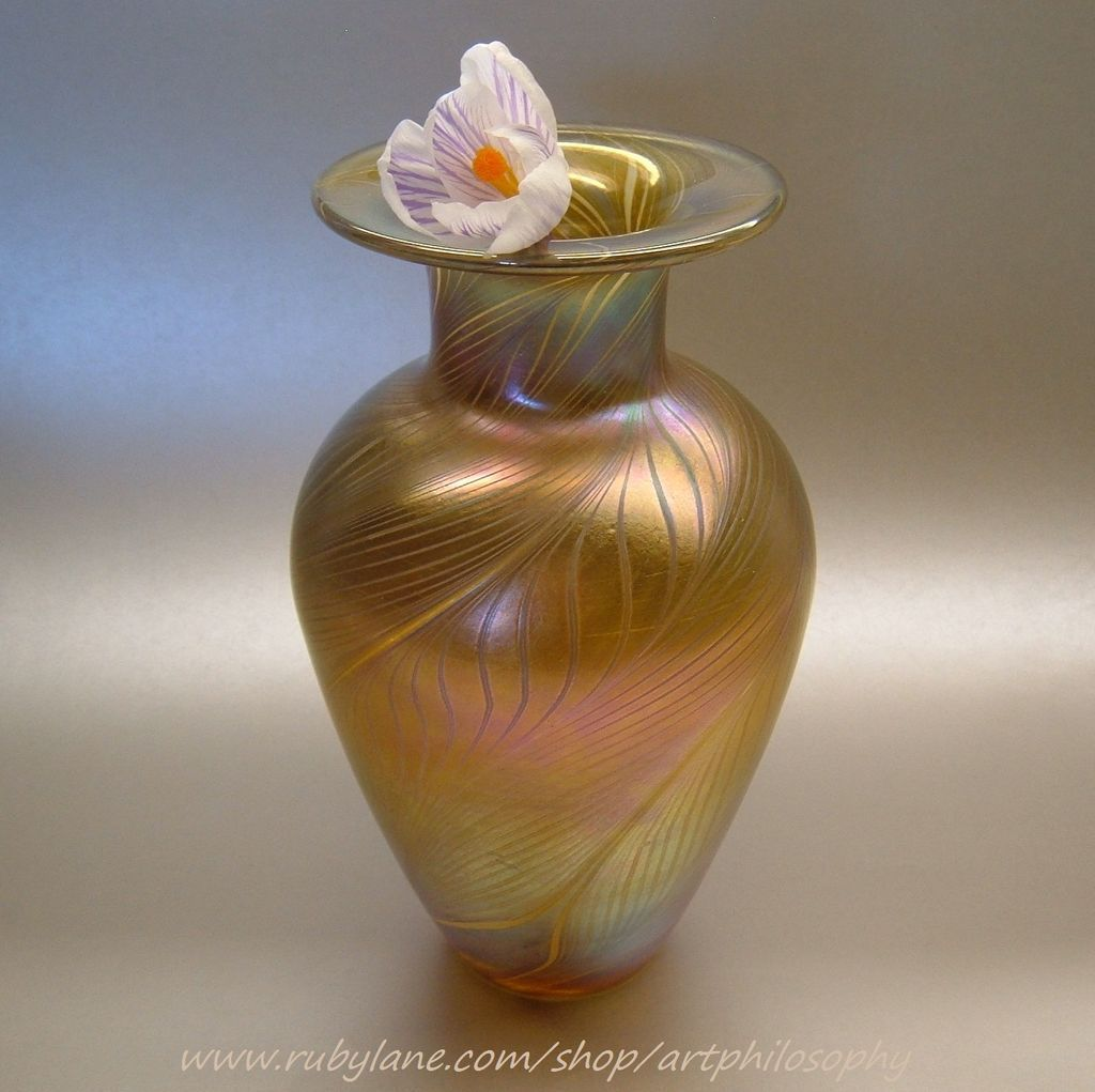 Art nouveau iridescent gold feather glass vase sold on