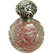 Antique Edwardian Sterling Silver Repousse Cut Glass Perfume Bottle 1904 British Signed