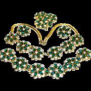 Retro Ralph de Rosa Parure 1942 Necklace Bracelet Earrings Brooch/Pendant