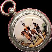 Antique Swiss Enamel 935 Silver Russian Hussar Pocket Watch 19th Century