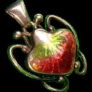 Antique Newlyn Enamel Strawberry Silver Pendant Chain ~ 1910 Scarce!