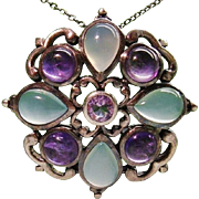 Unique Arts Crafts Sibyl Dunlop Sterling Silver Blue Chalcedony Amethyst Pendant England 1930s
