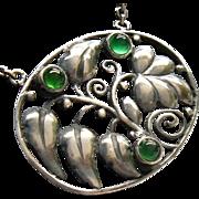 Karl Karst Antique Jugendstil Art Nouveau Silver Chrysoprase Gemstone Pendant 1910 Fine Jewelry Chain Necklace