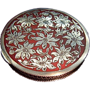 Antique Sterling Silver Enamel Austrian Powder Compact Box with Flowers