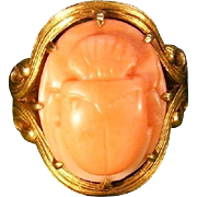 Art Nouveau Allsopp 14k Gold Pink Salmon Coral Carved Scarab Ring c.1900