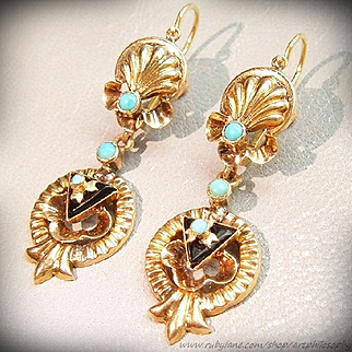 Antique 18k Gold Turquoise Earrings:Goddess of Love-The Birth of Venus c.1870