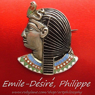 Antique Rare French EMILE-DÉSIRÉ PHILIPPE Silver Enamel Brooch ca 1878 Egyptian Revival