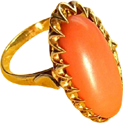 Antique 18k Gold Noble Salmon Natural Sicilian Coral Ring Edwardian
