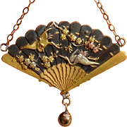 Antique Shakudo Pendant Necklace Gold Chain 1880's Japanese