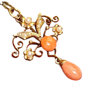 Antique 14k Gold Pink Salmon Coral Pearls Lavaliere Drop Dangle Pendant Chain Necklace 1890~1910 Victorian Edwardian Art Nouveau Fine Jewelry