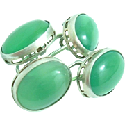 Art Deco Green Chrysoprase 830 Silver Cufflinks 1920s