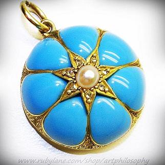 Antique Victorian Fine 18k Gold Turquoise Blue Enamel Pearl Rose Cut Diamond Locket Pendant Trompe-l'œil c.1860 Museum Quality Art Jewelry