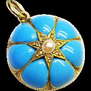 Antique Victorian 18k Gold Turquoise Blue Enamel Pearl Diamond Pendant Trompe-l'œil ca 1860