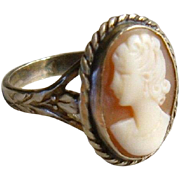 Antique Edwardian Sterling Silver Carved Cameo Ring English 1900s