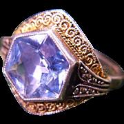 Art Deco Fahrner TF Sterling Silver Blue Spinel Ring 1932