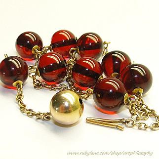 Antique 14k Gold Natural Red Amber Necklace Victorian/Edwardian 1890~1910