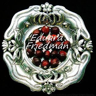 Antique Eduard Friedman Silver Art Nouveau Handcrafted Repousse Dish Tray c.1900 Vienna