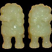 Antique Carved Bowenite Jade Mythological Foo Dogs Chinese Art