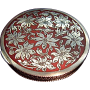 Antique Sterling Silver Enamel Austrian Powder Compact Box Daisy Ornament