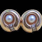 14k Gold  Diamonds & Pearl Earrings Lucky Mojo! Fine Jewelry