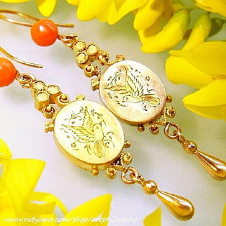 Antique 14k Gold Noble Red Salmon Mediterranean Coral Etruscan Archaeological Revival Victorian Long Dangle Drop Earrings 1860s French Wires Engraved Doves Art Jewelry
