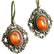 Antique Arts Crafts Silver Filigree Sunstone Cabochon Earrings
