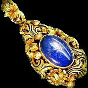 Rich Antique 935 Silver Gilt Lapis Lazuli Pearl Enamel Pendant 1880