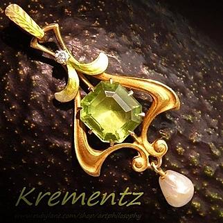 Antique Krementz 14k Gold Enamel Diamond Peridot Gemstone Art Nouveau Lavaliere Pendant c.1910 Pearl Dangle Drop Edwardian Era Fine Jewelry