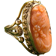 Antique 14k Gold Pink Salmon Coral Carved Flora Cameo Cannetille Filigree Ring c.1890