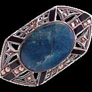 Art Deco Neo-Paganism 925 Silver Enamel Lapis Lazuli Marcasite Brooch 1920s God Khonsu