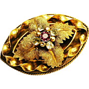 Antique Georgian 18k/22k Gold Amethyst Chrysoberyl Brooch 1830-1840s