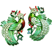 Glorious 1935 Coro Birds Duette Metallic Enamel Brooch/Pin/Clip