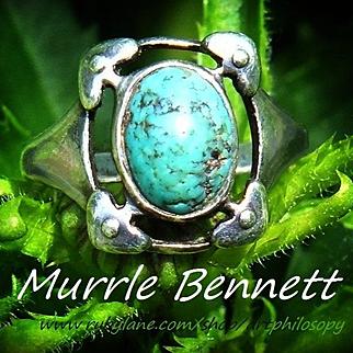 Rare Antique Murrle Bennett & Co Signed 950 Silver Matrix Turquoise Ring Archibald Knox Celtic Design c.1900 Art and Crafts / Nouveau
