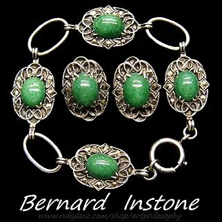 Arts & Crafts Bernard Instone Sterling Silver Sunstone Cabochon Marcasite Half Parure 1929